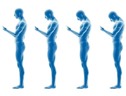 Man looking at his phone with text neck.