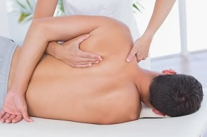 a man getting a massage.